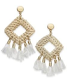 I.N.C. Gold-Tone Rattan-Look & Tassel Drop Earrings, Created for Macy's