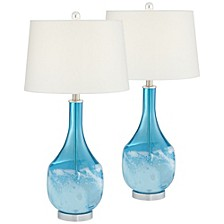 Blue North Glass Table Lamps - Set of 2