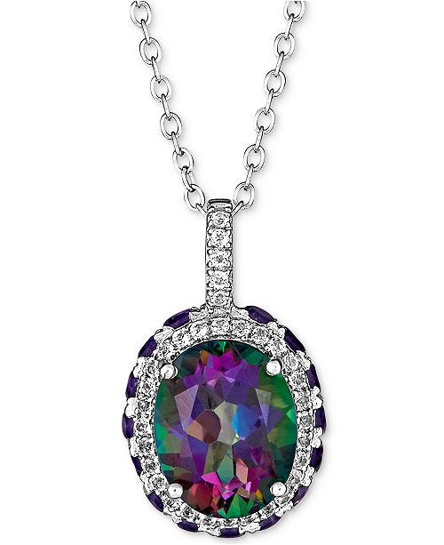 "Macy's Multi-Gemstone Pendant Necklace (4-3/4 ct. t.w.) in Sterling Silver, 16"" + 2"" extender"