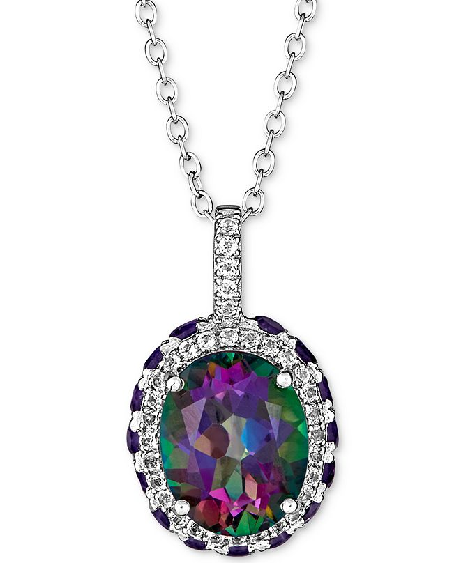 """Macy's Multi-Gemstone Pendant Necklace (4-3/4 ct. t.w.) in Sterling Silver, 16"""" + 2"""" extender"""