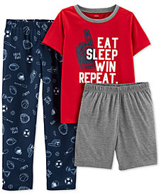 Carter's Little & Big Boys 3-Pc. Sports Pajamas Set