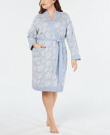 Charter Club Plus Size Flower Jacquard Cotton Robe, Created for Macy's