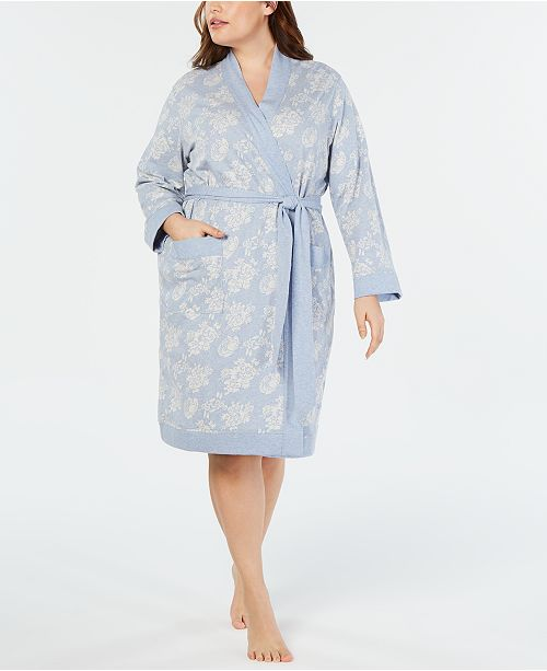 Charter Club Plus Size Floral Jacquard Knit Short Robe, Created for Macy's