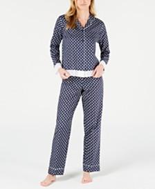 Charter Club Long-Sleeve Woven Poplin Notch Collar Top & Pajama Pants Sleep Separates, Created for Macy's