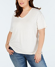 Plus Size Studded T-Shirt