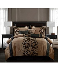 Helda 7-Piece Comforter Set, Tan/Black, Queen
