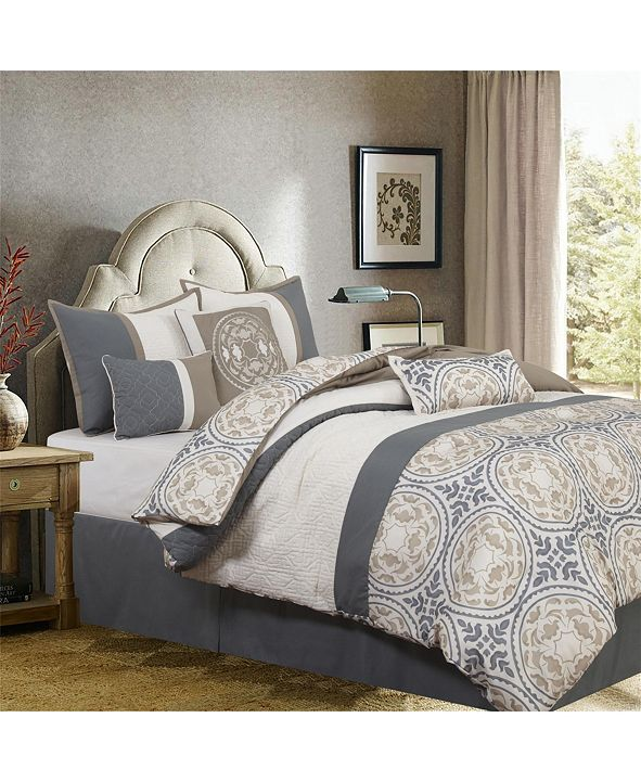 Nanshing Camila 7-Piece Comforter Set, Gray/Ivory, King