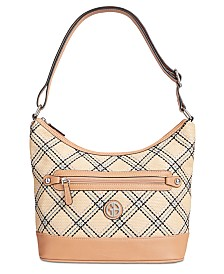 Giani Bernini Straw Plaid Hobo, Created for Macy's