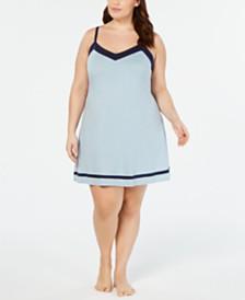Alfani Pima Cotton Plus Size Contrast Trim Knit Chemise Nightgown, Created for Macy's