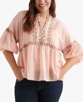 Lucky Brand Womens Plus Size Embroidered Neck Peasant Top