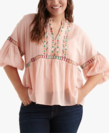 314ccfae3f88e Lucky Brand Plus Size Embroidered Peasant Top   Reviews - Tops ...