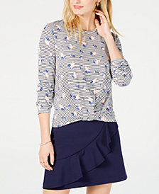 Maison Jules Printed Twist-Front Top, Created for Macy's