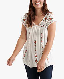 Lucky Brand Plus Size Floral-Embroidered V-Neck Top