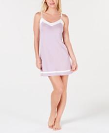 Alfani Pima Cotton Constrasting Tim Nightgown, Created for Macy's