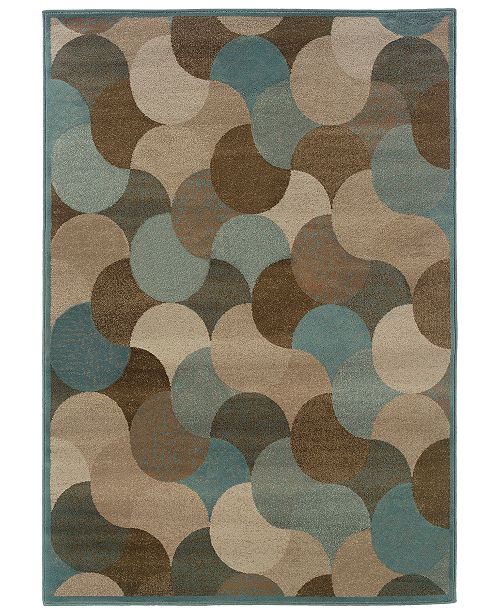 """Oriental Weavers CLOSEOUT!  Adrienne 3729F Beige/Blue 3'10"""" x 5'5"""" Area Rug"""