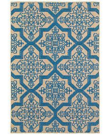 """Oriental Weavers Cayman 2541M Sand/Blue 9'10"""" x 12'10"""" Indoor/Outdoor Area Rug"""