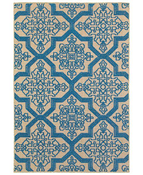 """Oriental Weavers Cayman 2541M Sand/Blue 7'10"""" x 10'10"""" Indoor/Outdoor Area Rug"""
