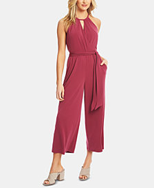1.STATE Cropped Wide-Leg Halter Jumpsuit