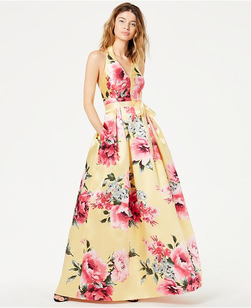 384f44bdc ... Teeze Me Juniors' Floral-Print Halter Gown, Created for Macy's ...