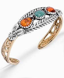 Two-Tone Amber and Turquoise Cuff Bracelet