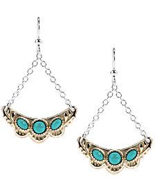 American West Two-Tone Green Turquoise Gemstone Earrings