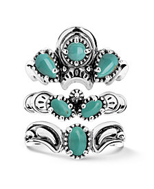 American West Green Turquoise Three Piece Ring Set in Sterling Silver