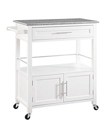 Cameron Kitchen Cart with Granite Top, White