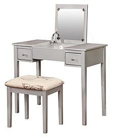Butterfly Vanity Set with Bench and Mirror, Silver