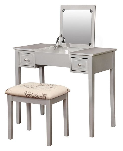 Linon Home Decor Butterfly Vanity Set with Bench and Mirror, Silver
