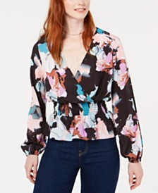 Bar III Floral Smocked-Waist Surplice Blouse, Created for Macy's