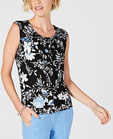 Kasper Petite Floral-Print Pleated-Neck Top