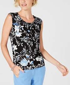Kasper Printed Pleat-Neck Top