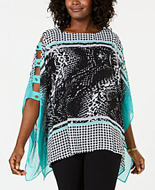 JM Collection Printed Ladder-Sleeve Poncho Top, Created for Macy's