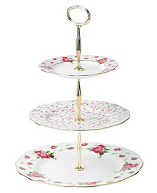 Old Country Roses White Vintage 3 Tier Cake Plate