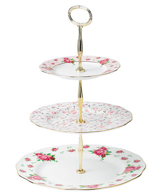 Royal Albert Old Country Roses White Vintage 3 Tier Cake