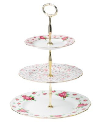 main image; main image ...  sc 1 st  Macyu0027s & Royal Albert Old Country Roses White Vintage 3 Tier Cake Plate ...