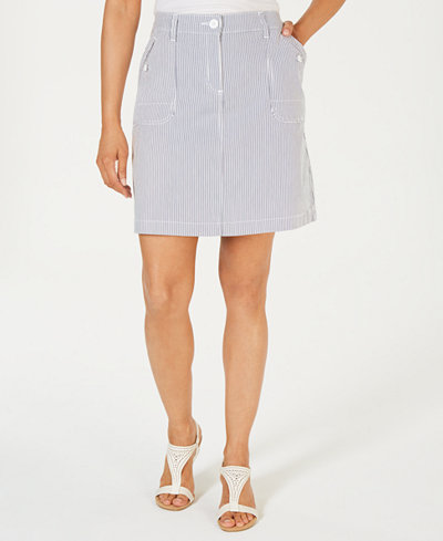 Karen Scott Petite Striped Skort, Created for Macy's