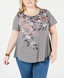 Style & Co Plus Size Graphic-Print Scoop-Neck Top, Created for Macy's