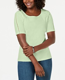 Karen Scott Petite Cotton Lace-Appliqué T-Shirt, Created for Macy's