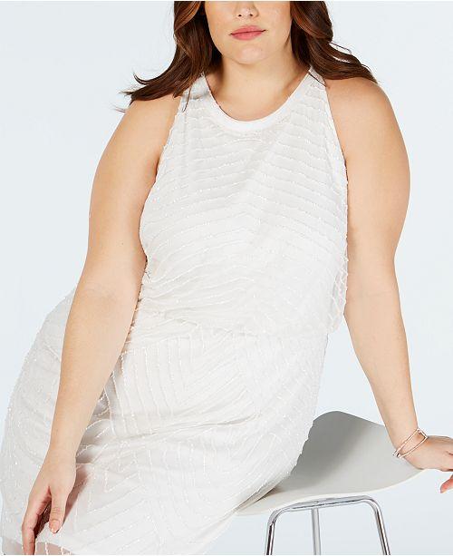 Plus Size Embellished Blouson Sheath Dress