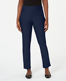 Karen Scott Petite Flat-Front Pull-On Pants, Created for Macy's