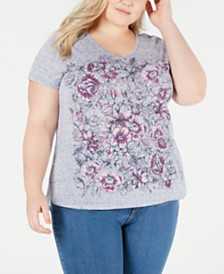Style & Co Plus Size Graphic-Print V-Neck Top, Created for Macy's
