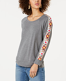 Style & Co Embellished-Sleeve Top, Created for Macy's