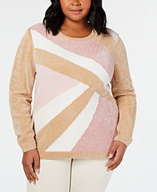 Alfred Dunner Home For The Holidays Plus Size Embellished Geo-Print Sweater