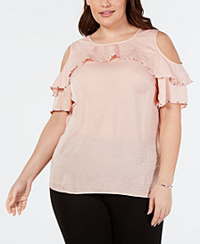 JM Collection Plus Size Embellished Ruffled Top, Created for Macy's