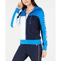 Deals on Tommy Hilfiger Sport Womens Fleece Colorblocked Zip-Front Hoodie