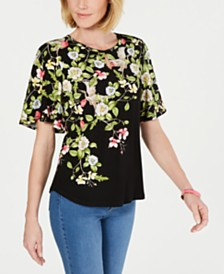 Charter Club Floral-Print Keyhole Top, Created for Macy's