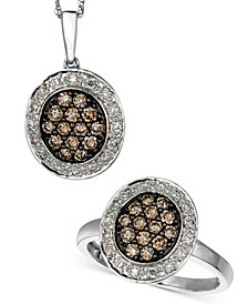 Le Vian Jewelry Chocolate and White Diamond Oval Jewelry Ensemble in 14k White Gold