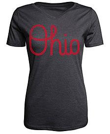 J America Women's Ohio State Buckeyes Tri-Blend Script Ohio V-Neck T-Shirt