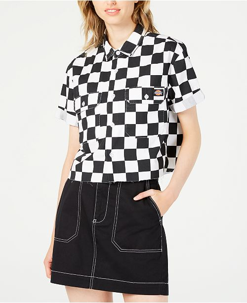 Dickies Cropped Checkered Cotton Work Shirt